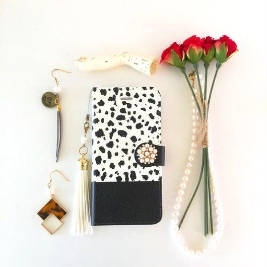 (pajour) ダルメシアン柄 手帳型スマホケース 戌年 iphone/Xperia/全機種