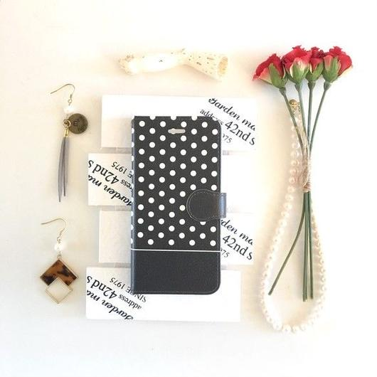 (pajour) ブラック ドット柄 手帳型スマホケース ビジュー無し 水玉 iphoneX/Xperia/plus/xz/SC-04/AQUOS/Android/galaxy/全機種