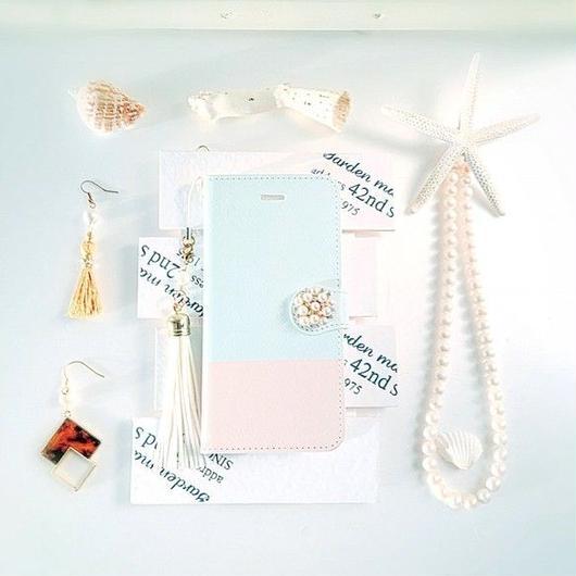 (pajour) 2トーン ミントグリーン & ベージュ 柄 手帳型スマホケース iphone/Xperia/全機種