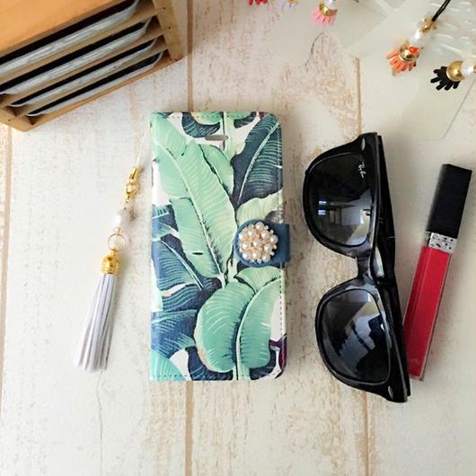 【pajour 】( リーフ ) ヤシの木柄 手帳型 スマホケース【iPhone】【手帳】【パームツリー柄】
