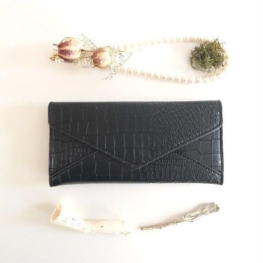 ブラック 身軽にキメるクラッチトラベル財布 ( pajour)(ギフト)(クリスマス)(クロコ)
