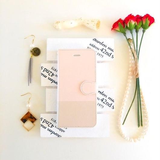 (pajour) 2トーン ペールピンク & ベージュ 柄 手帳型スマホケース ビジュー無し iphone/Xperia