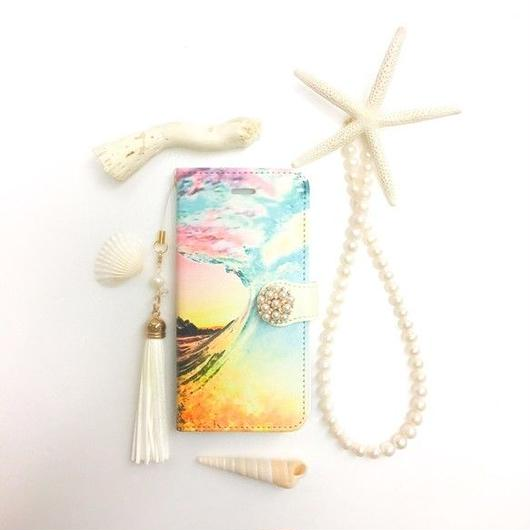 PAJOUR サンセット ビーチ ② 柄 手帳 型 スマホケース( ドライブラシ / 夕日 /グラデ)