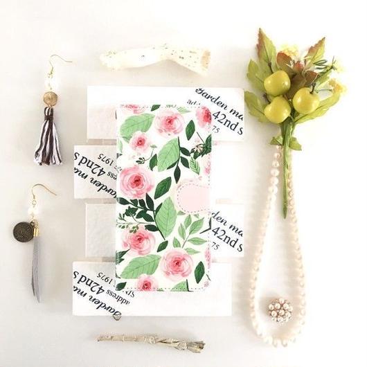 (pajour) 水彩ピンクローズ 柄 手帳型 ケース ビジュー無し (花柄)