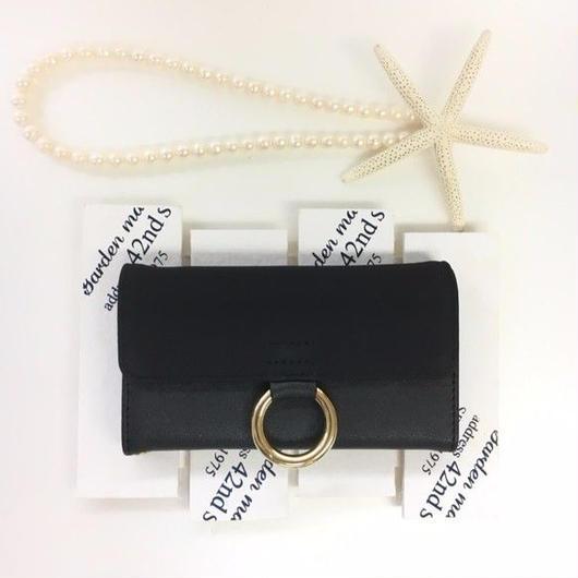 PAJOUR ブラック 真鍮リングスエード手帳型ケース