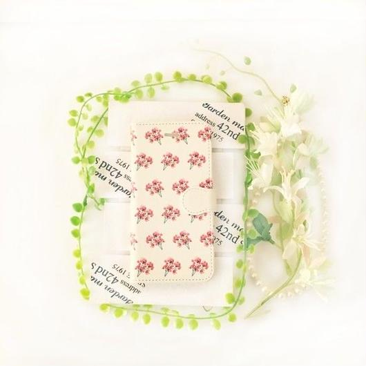 pajour) 水彩絵の具 赤い 小花柄 手帳型 ケース ビジュー無し iphoneX/Xperia/plus/iphone8/xz/SC-04/AQUOS/Android/galaxy