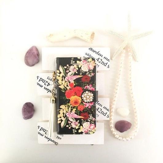 ブラック ヴィンテージブーケ柄 手帳型 スマホケース【iPhone】【pajour 】【花柄】【秋冬】