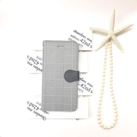 グレンチェック 柄 手帳型 スマホケース ビジュー無し【iPhone】【チェック】【pajour 】【千鳥格子】