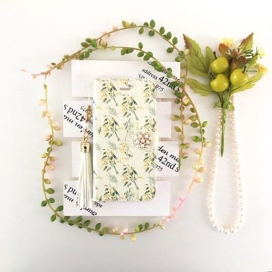 (pajour)淡く鮮やかな水彩絵の具ミモザ柄 手帳型 ケース 【pajour 】【花柄】【mimosa】