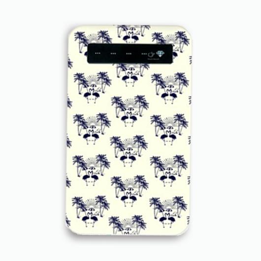 ( ネイビー ) フラミンゴ ×パームツリーモバイル バッテリー ( スマホ ) ( 充電器 )