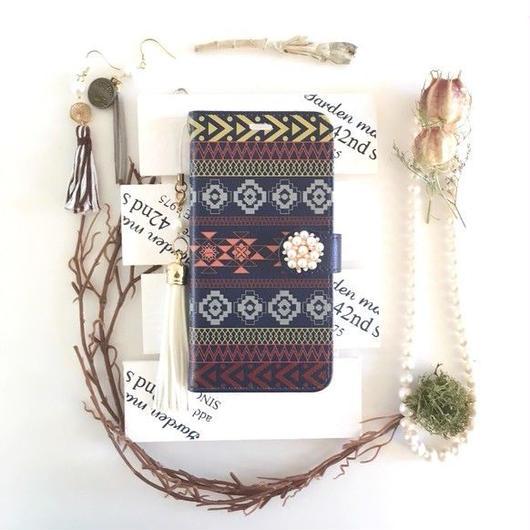(pajour) ネイビー 幾何学 オルテガ 柄 手帳型 ケース