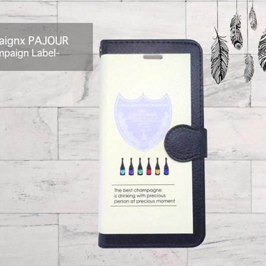【pajour 】ビジュー無し 黒縁 シャンパン 柄 手帳型 スマホケース【iPhone】【手帳】【シャンパン】
