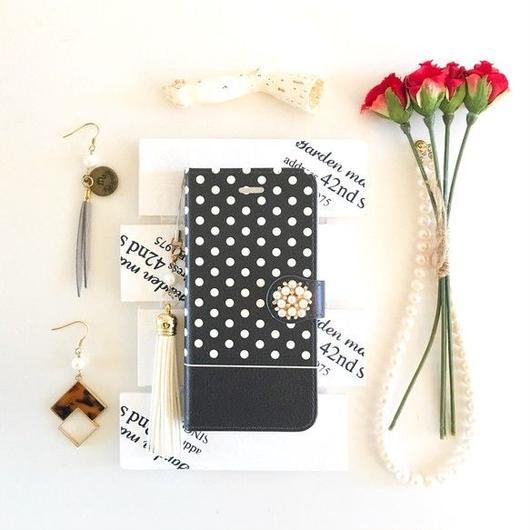 pajour ブラック ドット柄 手帳型 スマホケース iphone/Xperia iphone/Xperia/全機種