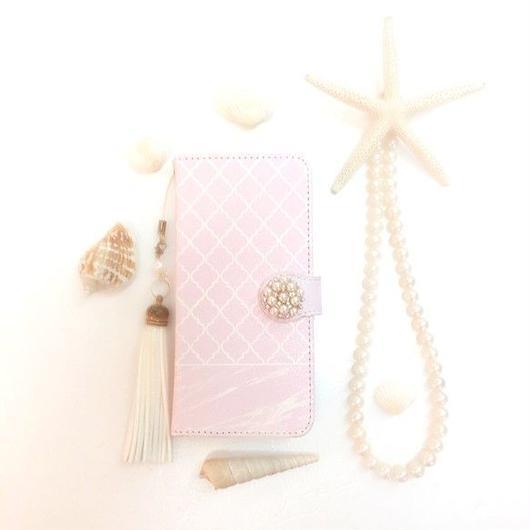 pajour(パジュール) ペールピンク マーブル モロッカン 柄 手帳型 ケース