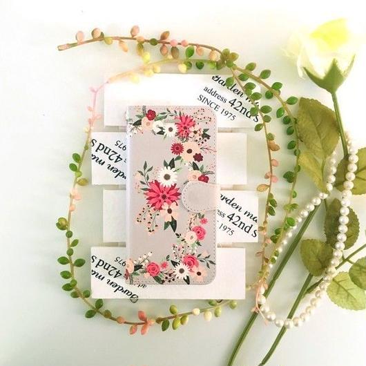 (pajour) グレージュ レトロボタニカル花園柄 手帳型 ケース ビジュー無し 【秋冬 】【花柄】