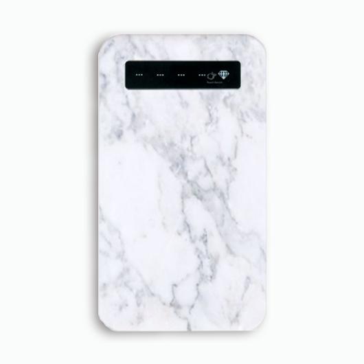【pajour 】( ホワイト ) マーブル 柄 モバイル バッテリー ( スマホ ) ( 充電器 )