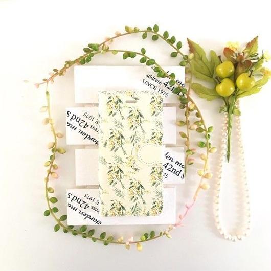 (pajour)淡く鮮やかな水彩絵の具ミモザ柄 手帳型 ケース 【pajour 】【花柄】【mimosa】ビジュー無し