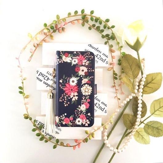 (pajour) ネイビー レトロボタニカル花園柄 手帳型 ケース【秋冬 】【花柄】