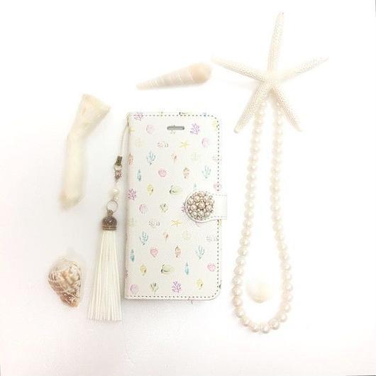 【pajour 】カラフル 水彩 シェル柄 手帳型 スマホケース【iPhone】【手帳】【シェル柄】