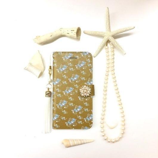 秋冬の小花ローズガーデン柄 手帳型 スマホケース 【iPhone】【手帳】【pajour 】【小花】【薔薇】