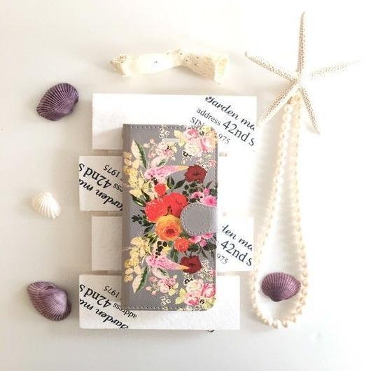 グレージュ ヴィンテージブーケ柄 手帳型 スマホケース【iPhone】【pajour 】【花柄】【秋冬】ビジュー無し