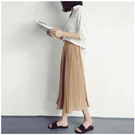 ワイドパンツ スカンツ  ハイウエスト プリーツスカート 7分丈 シフォン 無地 レディース スカーチョ ガウチョパンツ