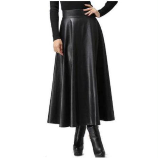 A line leather flare skirt