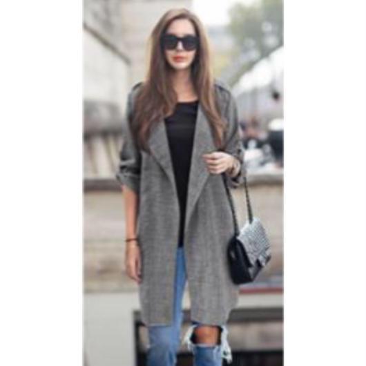ロングシャツ フェミニン 可愛い ゆったり 七分袖 グレー L