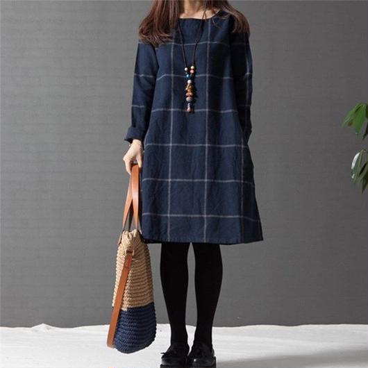 A line navy Check Dress