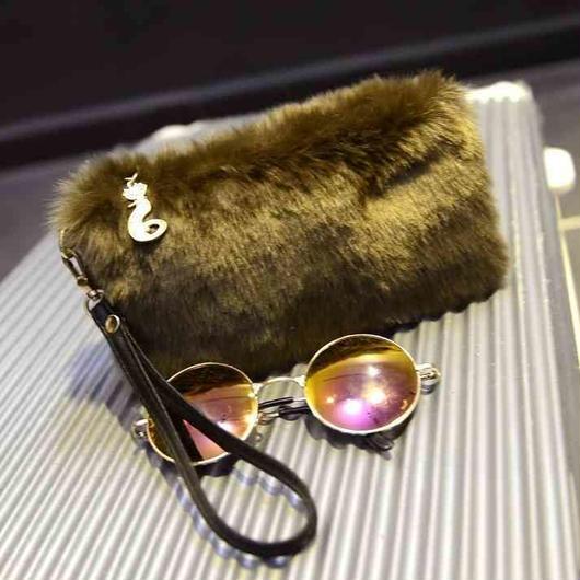 fake fur clutch bag