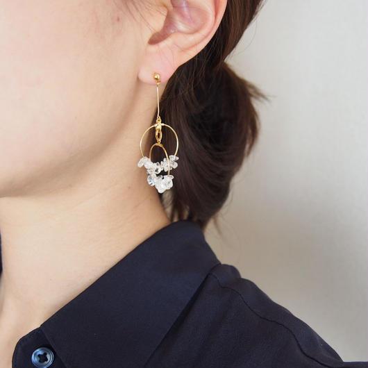 quartz foop pierces/earrings