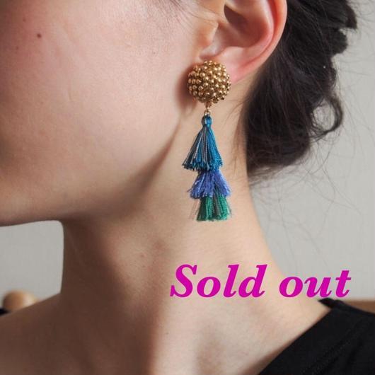 big metal×blue tassel earrings