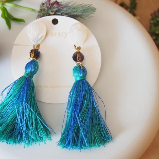 shell blue tassel Earrings