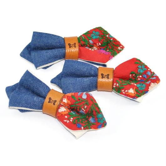 Patriqo Denim × Embroidery 刺繍蝶ネクタイ (ブローチ)