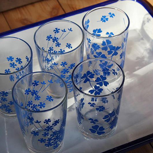 昭和レトロ・フラワープリントのグラス