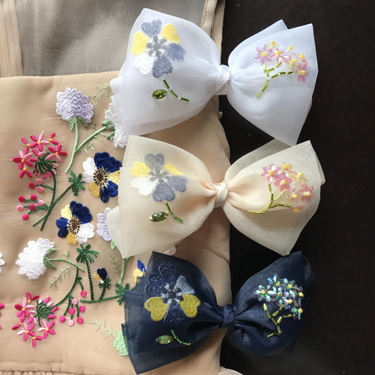 Flower Organdie Ribbon (バレッタ or シュシュ)
