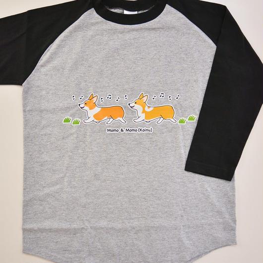 7分袖ベースボールTシャツ(ボディ色:グレー、ブラック)