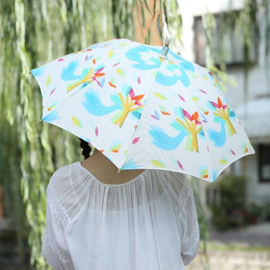 日傘(手元:白木)ロワゾ【鳥】ブルー