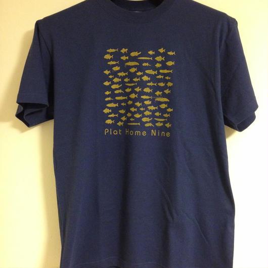 severalfold群れる魚Tシャツ ネイビー