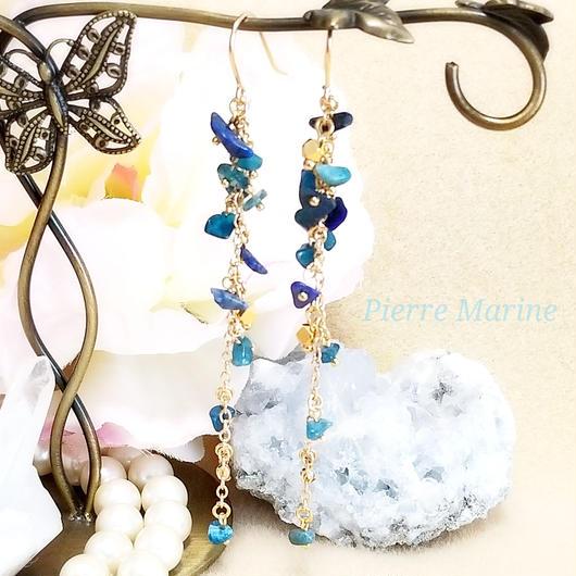 10月の誕生石トルマリン「勇気のブルー」ピアス(14kgf)