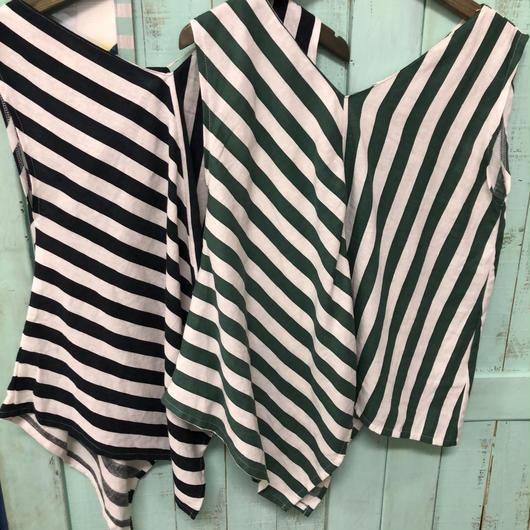 Linen混stripe tops