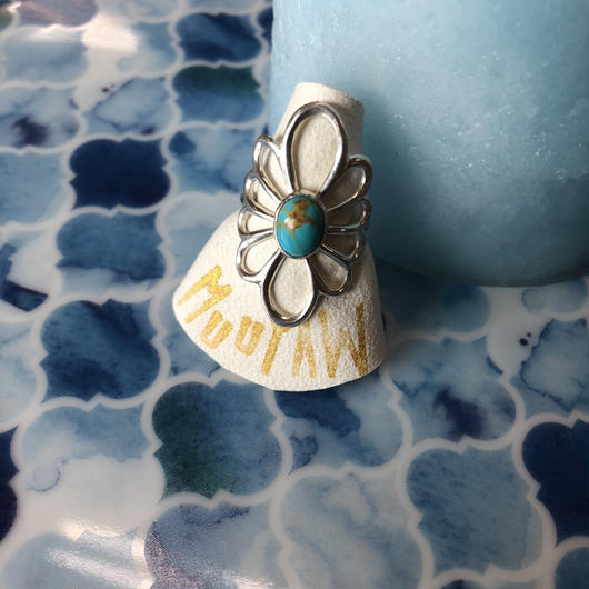 silver turquoise flower ring