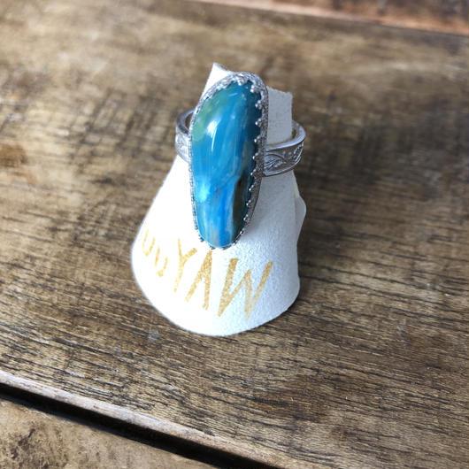 muuyaw blue opal silver ring