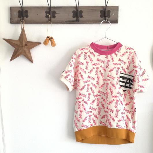 キッズ服 半袖プルオーバー*ピンク×ラメキャンディー*