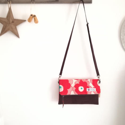 2ウェイショルダーバッグ*赤いお花*