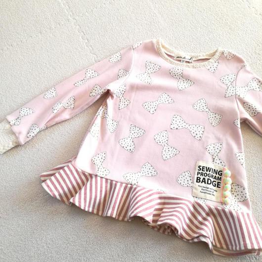 【子供服120】長袖フレアT*ピンクの大きいラメリボン*