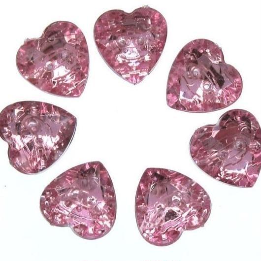 Crystal Heart button × 15piece