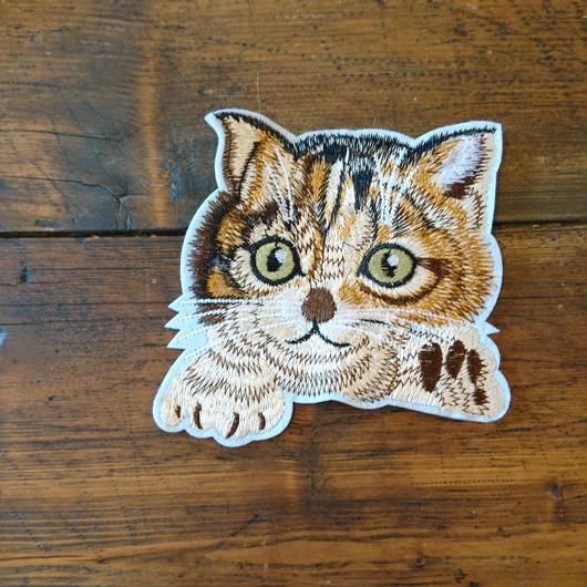 猫ワッペン トラ柄 大