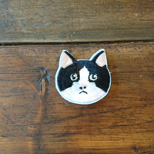 猫ワッペン ブチ柄