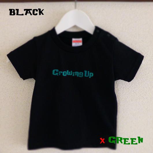 T SHiRT for KiDS 110cm - Growing Up - #BLACK x GREEN